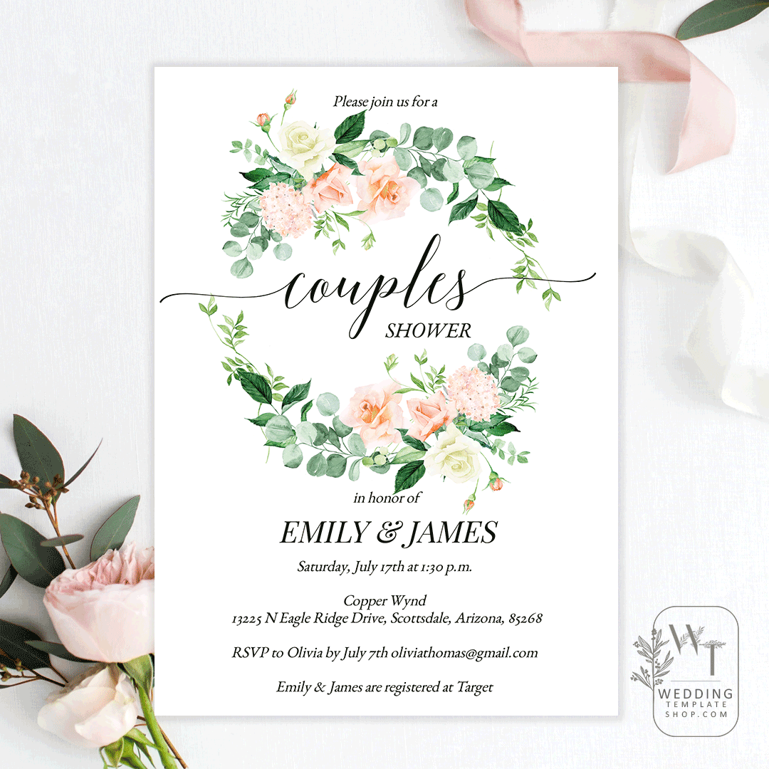 Couples Wedding Shower Invitations Peach Yellow Florals Edit