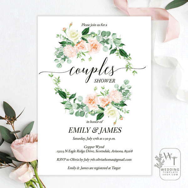 Couples Wedding Shower Invitations Peach Yellow Florals Edit Online, DIY You Print