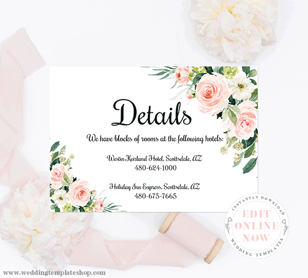 Wedding Details Insert Card Blush Florals Edit Online, Download, Print