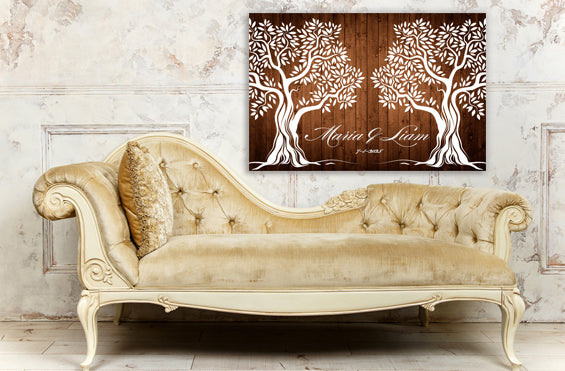 Personalized Wedding Guest Book Anniversary Wall Décor Brown ...