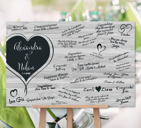Personalized Wedding Canvas: Wedding Guest Book Personalized Poster Or Canvas Print