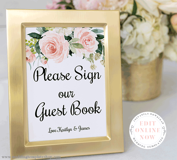 Wedding Guest Book Sign Blush Florals Edit Online, Download and Print