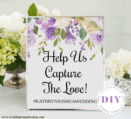Wedding Instagram Sign Purple Florals Edit Online, Download, Print