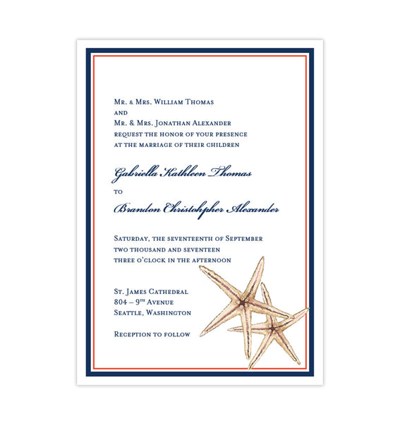 Beach Starfish Wedding Invitation Navy Blue Coral