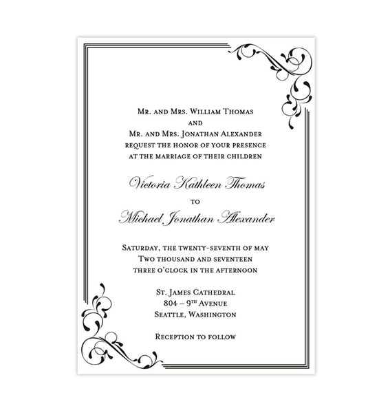 Elegance Wedding Invitation Black White Printable DIY Template