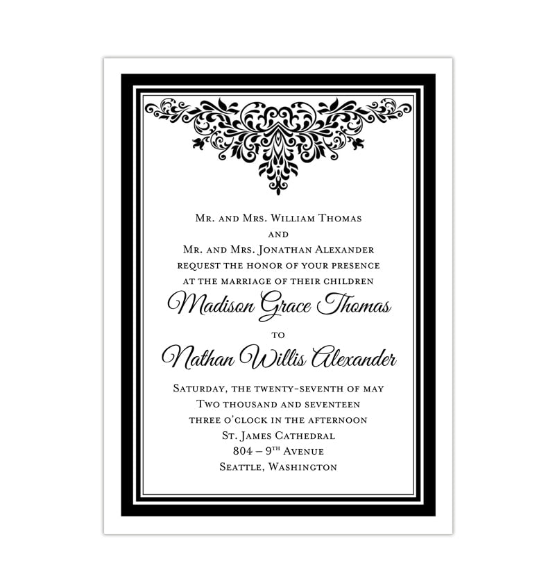 picture about Printable Invitations called Anna Maria Marriage Invitation Black White Printable Do-it-yourself