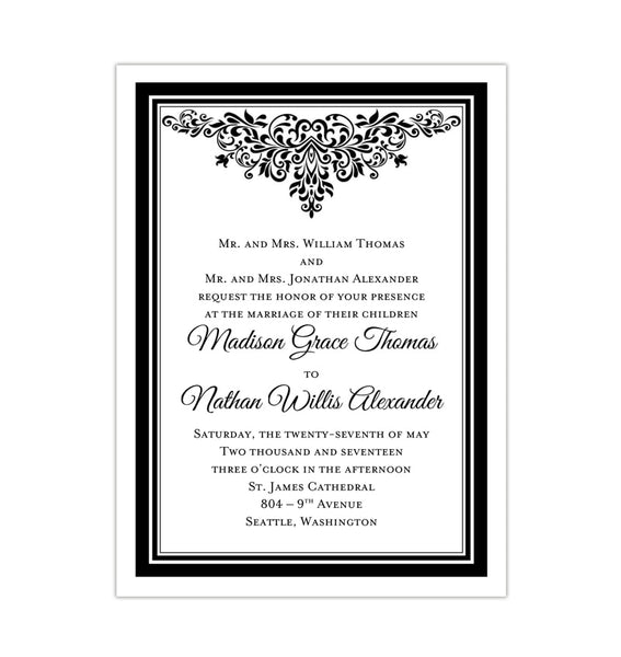 Wedding Invitation Template DIY Black and White
