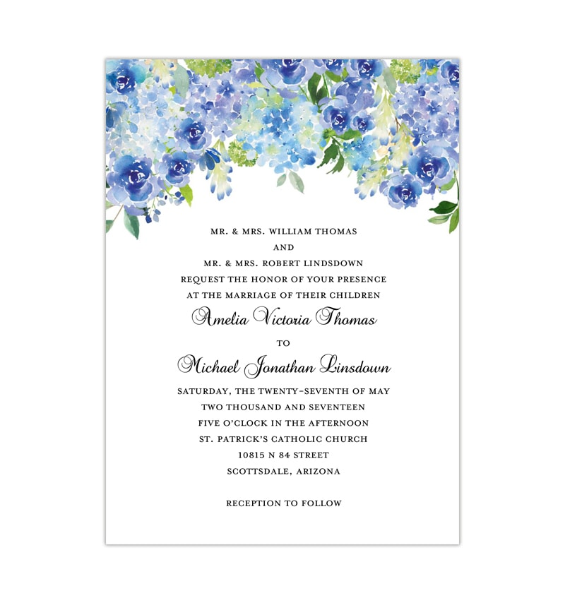 Green hydrangea wedding set ~ invitation templates ~ creative market.