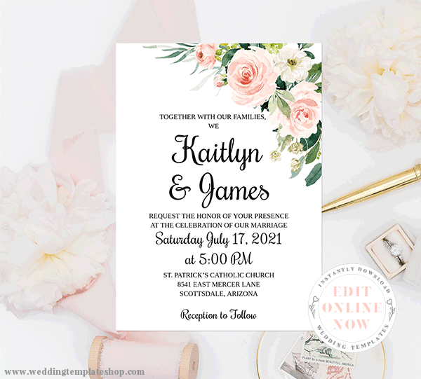 Wedding Invitation Template Blush Florals Edit Online, Download, Print
