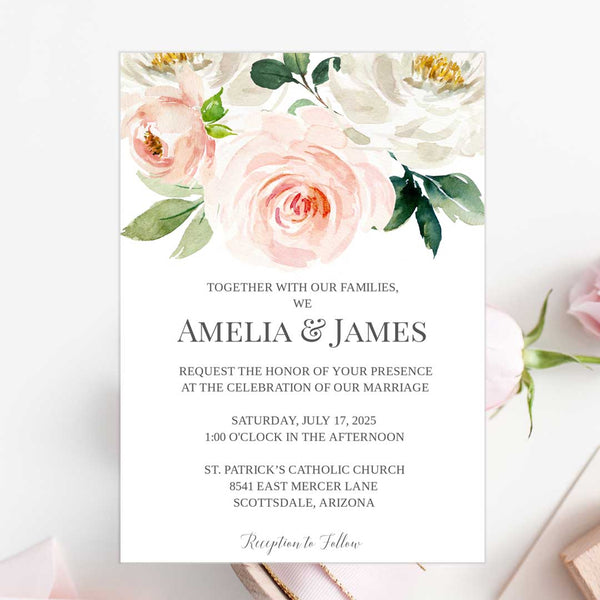 Printable Wedding Invitation Template Blush Ivory Florals Edit Online