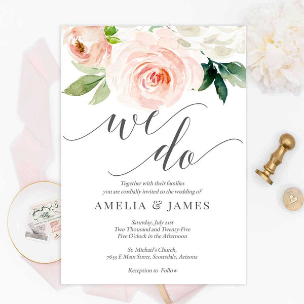 Printable We Do Wedding Invitation Template Blush Florals Edit Online