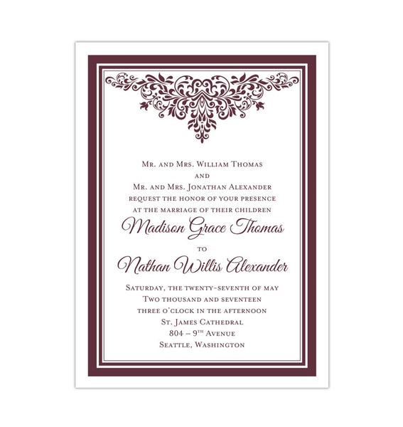 Printable DIY Wedding Invitation Template Burgundy