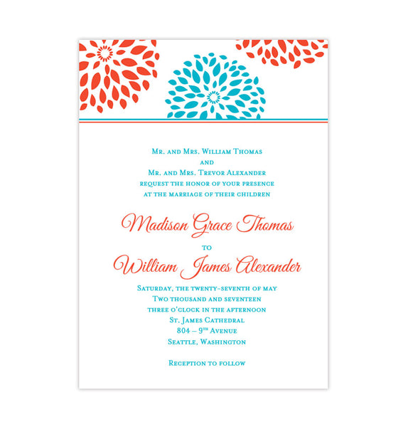 Floral Petals Wedding Invitation Coral Turquoise