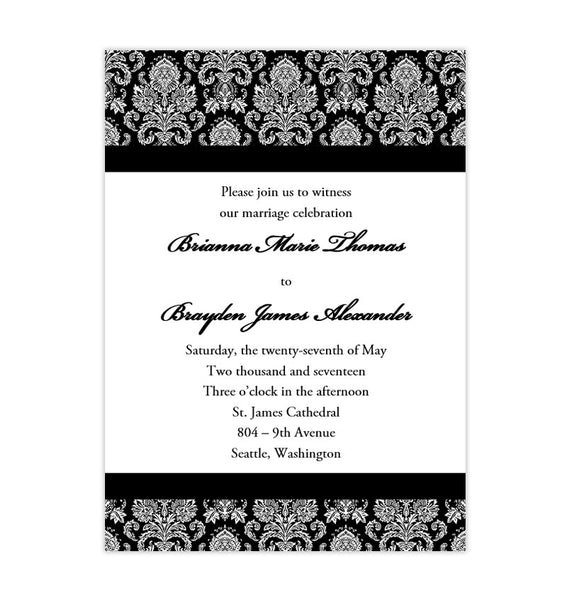 Damask Wedding Invitation Black White Printable Template