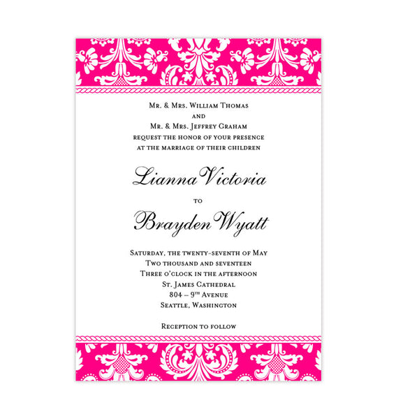 Damask Wedding Invitation Fuchsia Pink DIY Printable Template