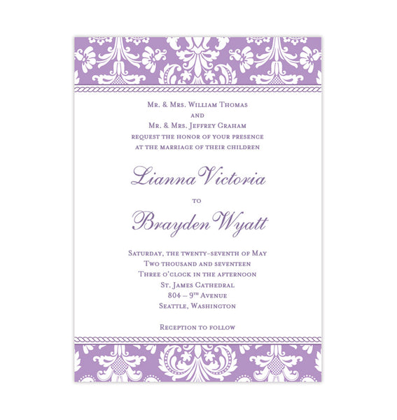 Printable DIY Damask Wedding Invitation Lavender Template