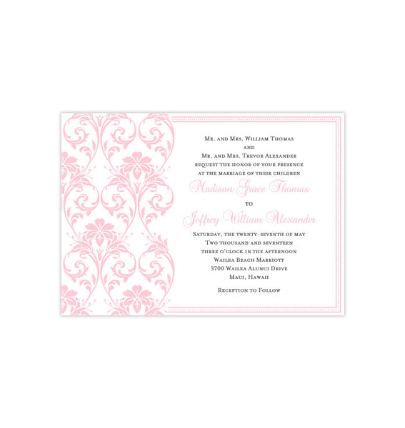 Damask Wedding Invitation Blush Pink Printable Template