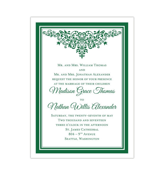 Printable DIY Wedding Invitation Template Emerald Green