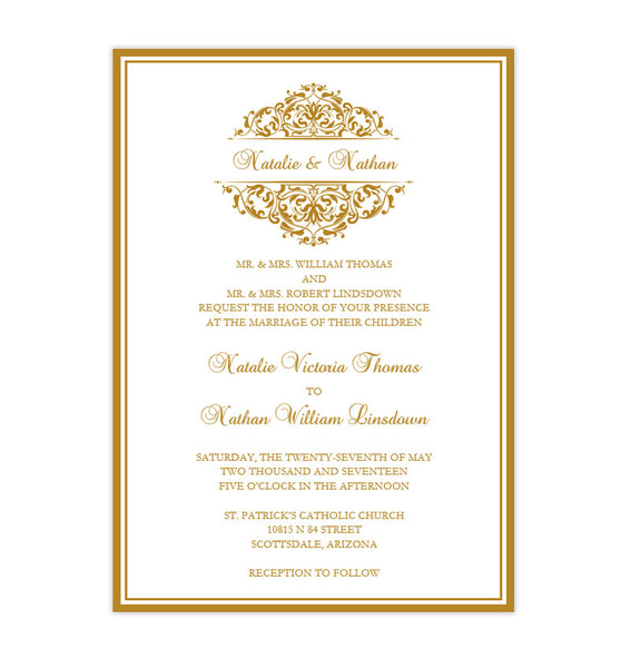 Grace Wedding Invitation Gold Anniversary Printable DIY Template