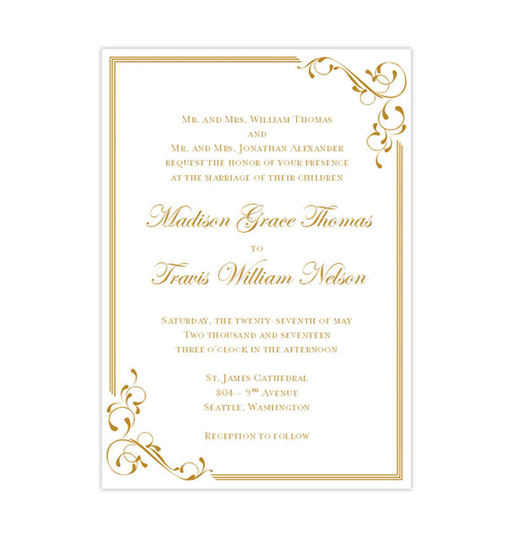 Printable DIY Template Elegance Wedding Invitation Gold