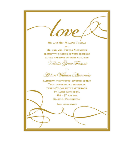 It's Love Wedding Invitation Gold Printable DIY Templates