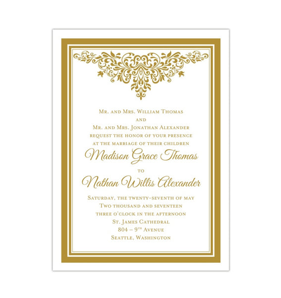 Printable DIY Wedding Invitation Template Gold