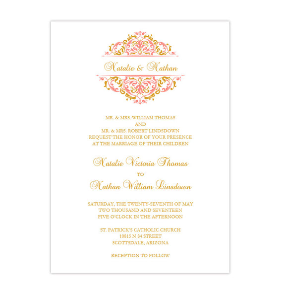Grace Wedding Invitation Coral Gold Printable DIY Templates
