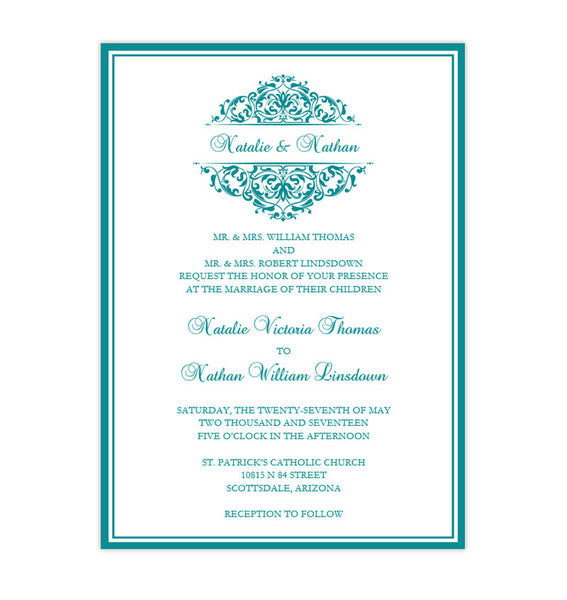 Grace Wedding Invitation Teal Printable DIY Template
