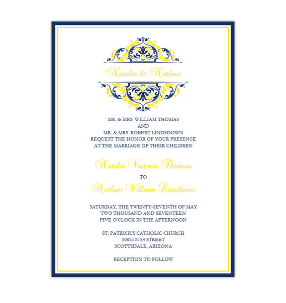 Grace Wedding Invitation Navy Blue Lemon Yellow Printable DIY Template