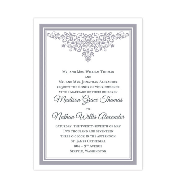 Printable DIY Wedding Invitation Template Gray