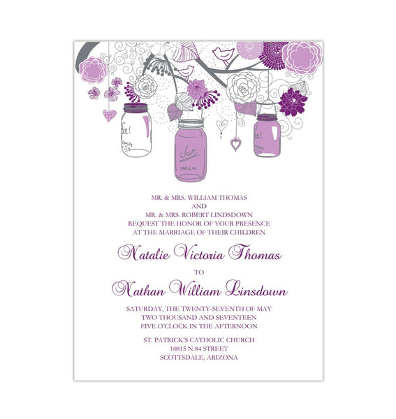 Rustic Mason Jars Wedding Invitation Plum Purple Lavender Printable DIY Templates