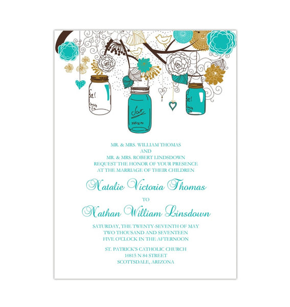 Rustic Mason Jars Wedding Invitation Robin's Egg Turquoise Blue Gold Printable Templates
