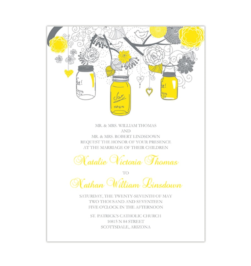 Rustic Mason Jars Wedding Invitation Lemon Yellow Gray