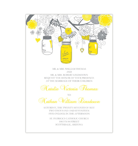 Rustic Mason Jars Wedding Invitation Lemon Yellow Gray Printable DIY Templates