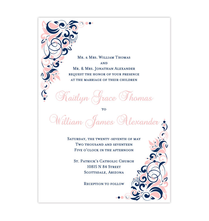 Pink And Navy Blue Wedding Invitations: Gianna Wedding Invitation Blush Pink Navy Blue