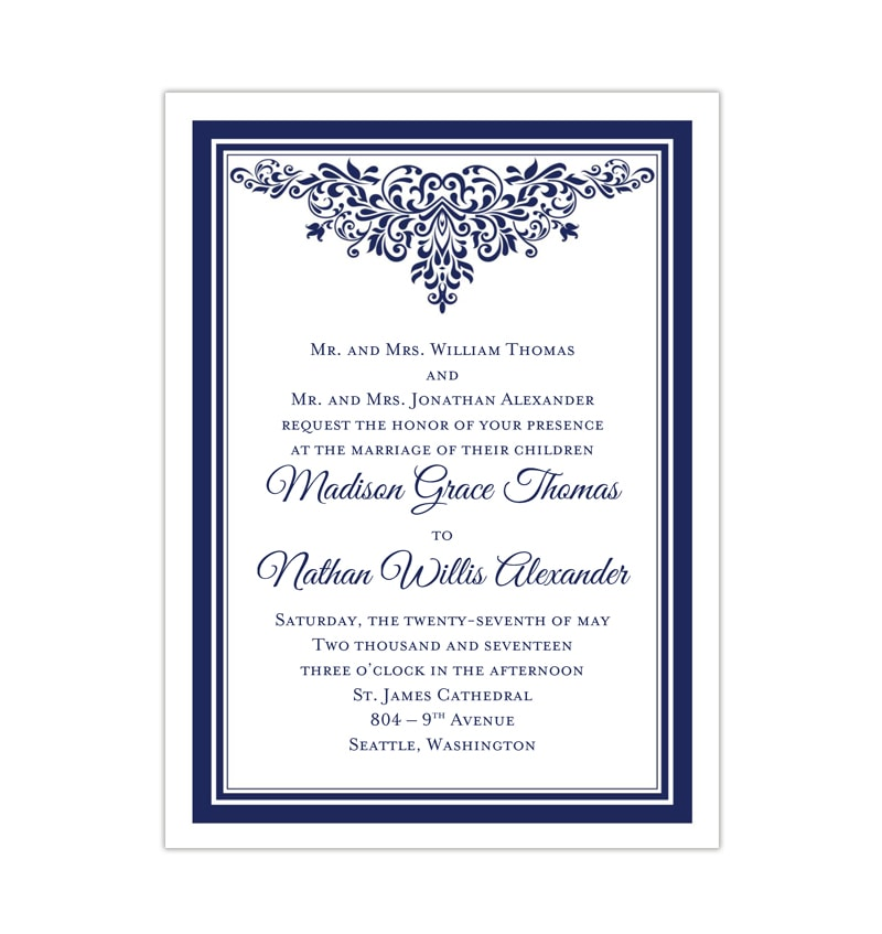 Places To Print Wedding Invitations: Anna Maria Wedding Invitation Navy Blue