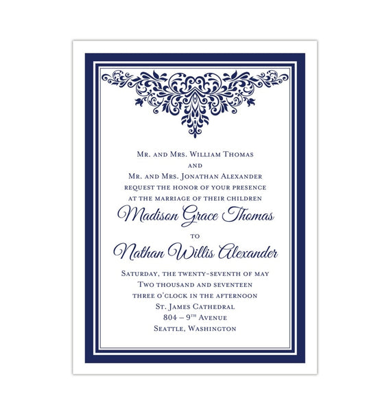 Printable DIY Wedding Invitation Template Navy Blue