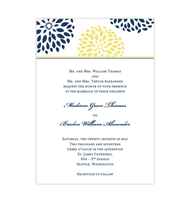 Floral Petals Wedding Invitation Navy Blue Yellow