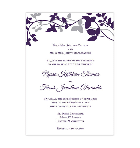 Silver And Purple Wedding Invitations: Forever Entwined Wedding Invitation Purple Eggplant Silver