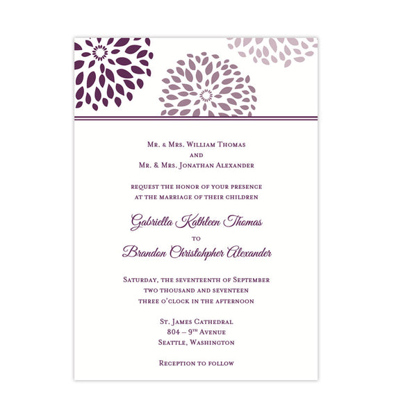 Floral Petals Wedding Invitation Purple Plum Lilac Printable Template