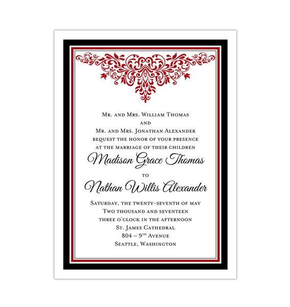 Printable DIY Wedding Invitation Template Black Red