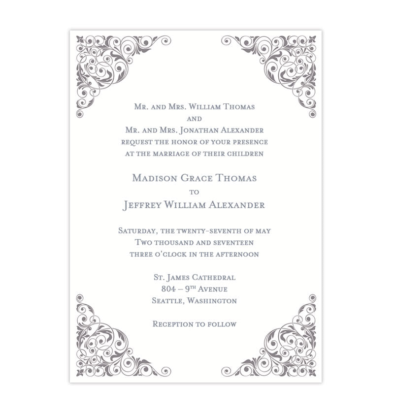 Isabella Wedding Invitation Silver Wedding Template Shop