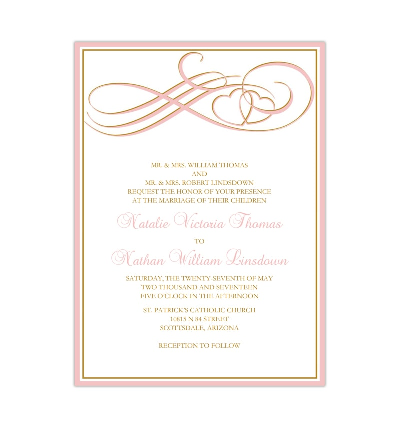 two hearts become one invitation blush pink gold wedding template shop