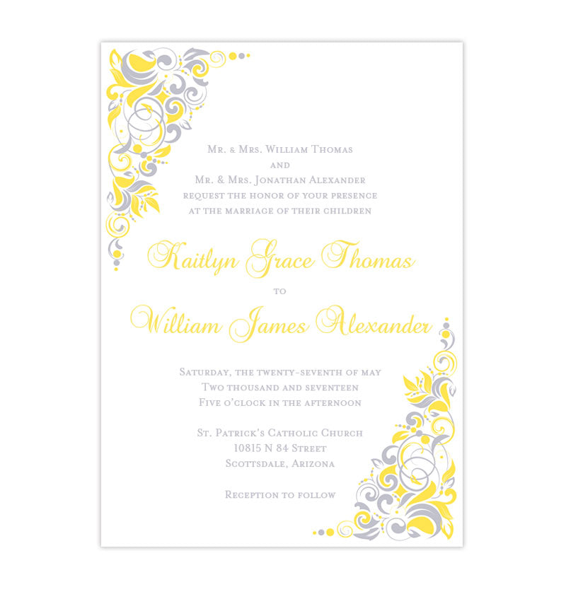 Gianna Wedding Invitation Yellow Silver Gray