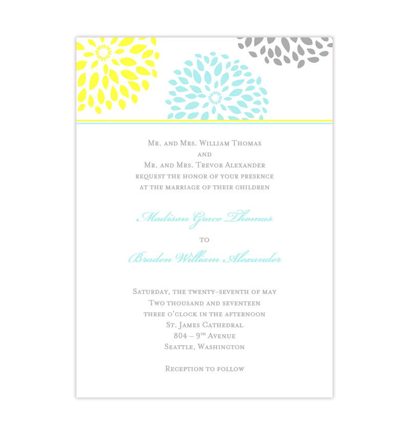 Floral Petals Wedding Invitation Turquoise Yellow Gray