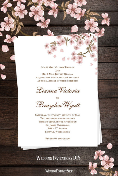 cherry blossom wedding invitation pink wedding template shop. Black Bedroom Furniture Sets. Home Design Ideas