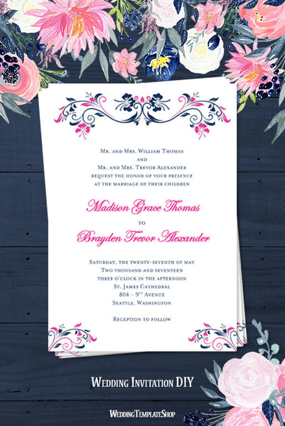 Annabelle Wedding Invitation Navy Blue Fuchsia Pink