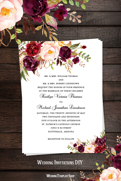 printable wedding invitation romantic blossoms make your