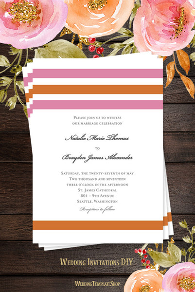 Simply Stripes Wedding Invitation Pink Orange