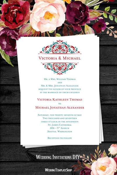 Grace Wedding Invitation Red Teal